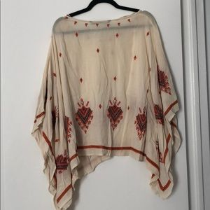 Zara embroidered poncho blouse